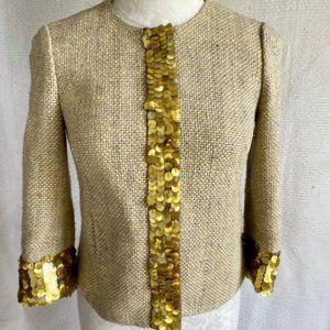 Tory Burch XS Silk Tweed Rustic Sequin Blazer Gold